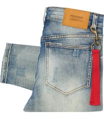 profound aesthetic destroyed denim jeans - light blue stone wash btm-029
