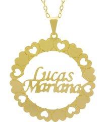 gargantilha horus import pingente manuscrito lucas mariana banho ouro amarelo