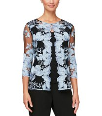alex evenings petite embroidered layered-look top