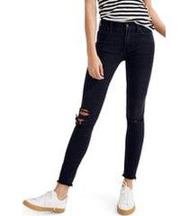 plus size women's madewell 9-inch high waist skinny jeans, size 37 - black