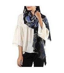 wool shawl, 'midnight garland' (india)