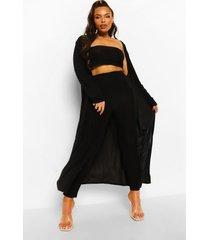 plus 3-delige bandeau top en leggings set, black