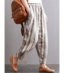 vintage pantaloni a righe con elastico in vita con tasche