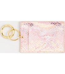 delisa snake print card case - blush