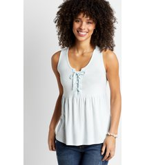 maurices womens light blue lace up babydoll tank top