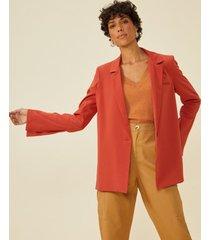 amaro feminino blazer alfaiataria manga com abertura, laranja queimado