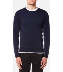 john smedley men's lundy 30 gauge extra fine merino crew neck jumper - midnight - xl - blue