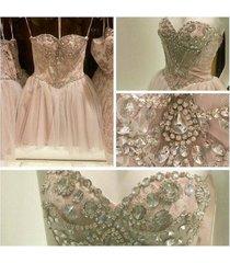 sexy pearl pink bead crystal short tulle homecoming /party/cocktail/formal dress