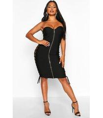 zip front strapless bandage dress, black