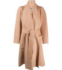 elisabetta franchi belted long-sleeve coat - neutrals