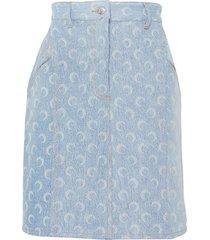 'regen' moon print denim mini skirt