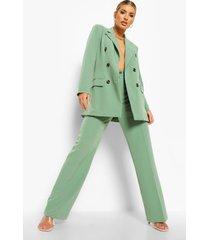 geplooide broek met rechte pijpen, light khaki