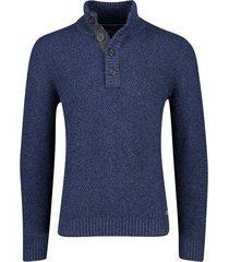 casa moda trui met knopen in kraag blauw
