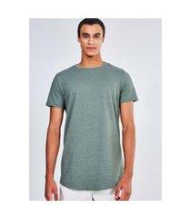 camiseta alongada verde militar