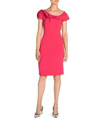 ruffle neckline sheath dress
