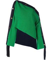 monse two-tone grosgrain cropped jumper - green