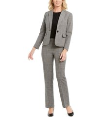 le suit plaid single-button pants suit