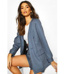 pinstripe collarless double breasted blazer, blue