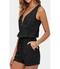 yoins black zip front design v-neck playsuit