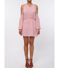 stylish round collar long sleeve cut out pure color chiffon women's dress