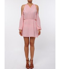 stylish round collar long sleeve cut out pure color chiffon women's dress