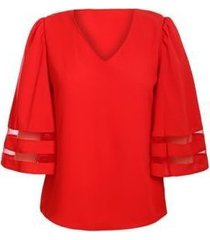 v cuello rejilla costura siete puntos manga mujer camiseta-rojo
