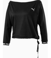 puma x pamela reif off-shoulder sweater, zwart/aucun, maat s