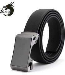 cinturón de hombres, correa de cuero de cuero simple-negro