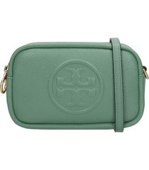 tory burch perry bombe clutch in green leather