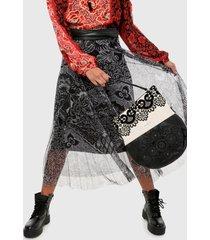 falda negro-blanco desigual