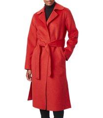 women's bernardo belted long coat, size medium - red