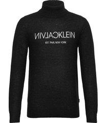 calvin plush logo sweater knitwear turtlenecks zwart calvin klein