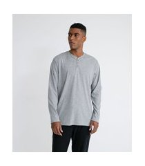 camiseta manga longa com gola henley | viko | cinza | gg