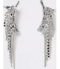 river island womens silver colour diamante tassel ear cuffs