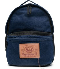 diesel zip-up denim backpack - blue