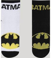 kit de 2 meias infantis batman cano médio multicor
