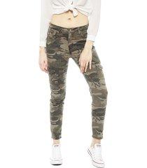 pantalón ellus leggings cropped camuflado verde - calce ajustado
