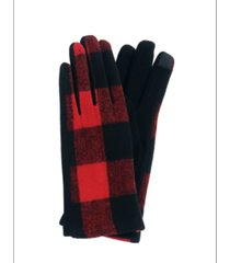 women's buffalo plaid jersey touchscreen glove