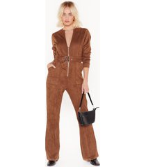 womens can i faux suede you to stay belted jumpsuit - tan