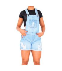 macacão jardineira jeans curta rasgada feminina com regulador clara delave azul
