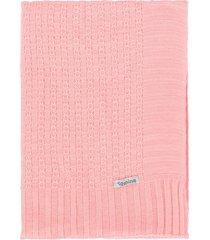 manta cobertor de berço tricô tamine luxo rosa bebê - kanui