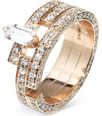 'disruptive' pavé diamond 18k rose gold three tier ring