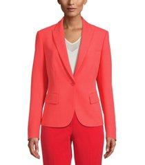 anne klein pinstriped single-button blazer