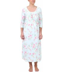 miss elaine floral-print long nightgown