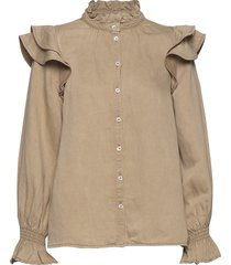 bella ls shirt blouse lange mouwen bruin second female