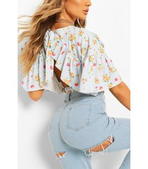 ditsy floral ruffle sleeve tie neck top, blue