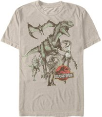 jurassic park men's retro dinosaur group short sleeve t-shirt