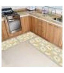 kit tapete de cozinha flor premium único