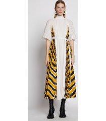 proenza schouler crepe pleated stripe dress yellowmulti/white 6