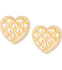 charter club gold-tone textured heart stud earrings, created for macy's